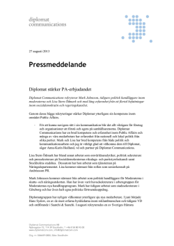 Pressmeddelande - Diplomat Communications