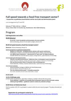 Full speed towards a fossil free transport sector? Program
