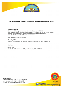 Förtydligande klass Regularity Midnattssolsrallyt 2015 ()