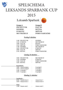 Spelschema och turneringsinformation Leksands Sparbank 2015
