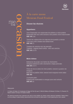 À la carte menu Mexican Food Festival