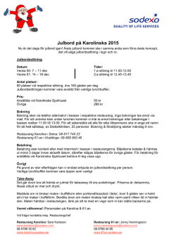 Julbordsinformation 2015