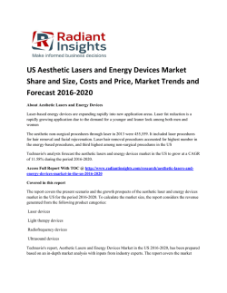 US Aesthetic Lasers and Energy Devices Market Trends, Growth And Forecast Up To 2020: Radiant Insights, Inc