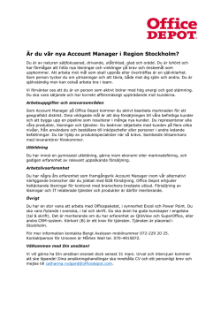 Account Manager, Stockholm