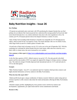Baby Nutrition Insights Issue 26 Market Analysis, Market Size, Competitive Trends: Radiant Insights, Inc
