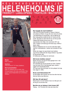 Namn Malin Jönsson Sektion Heleneholms IF Tri Team (triathlon