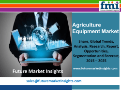 Agriculture Equipment Market Segments and Key Trends 2015-2025